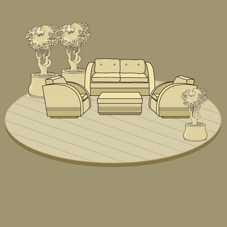 patio deck: Chairs, table  and flowers in pot on terrace or room.