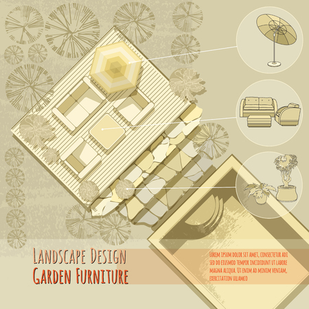 daybed: Garden design. Lounge chairs, umbrella. Top view. Illustration