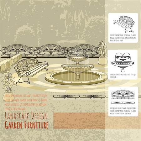 patio deck: Bench, fountain, railings, and flowers in pot. Vector