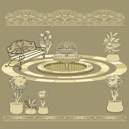 Bench, fountain, railings. Garden accessory on beige  background