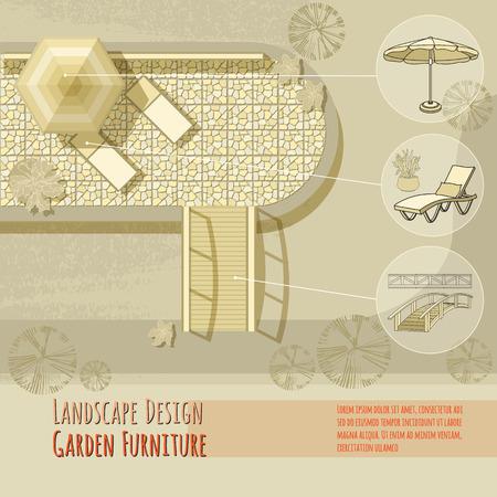daybed: Garden design. Lounge chairs, bridge, umbrella. Top view.