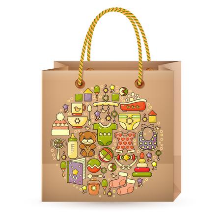 bolsa de la compra y el icono del bebé lindo colorido.