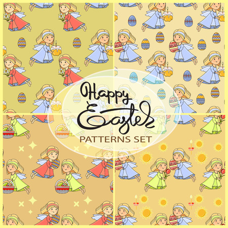 easter cake: A Vector seamless patterns set with Easter icons .
