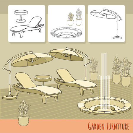 daybed: Lounge chairs, umbrella and flowers in pot. Illustration
