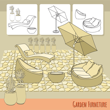 patio deck: Lounge chairs, umbrella and flowers in pot. Illustration