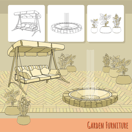 patio deck: Swing, paving, fountain and flowers in pot.