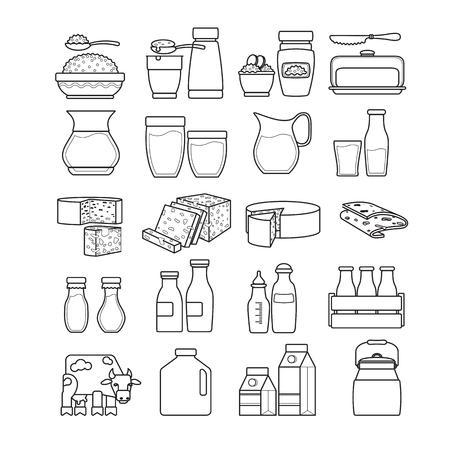 sour cream: set of dairy icon illustration.