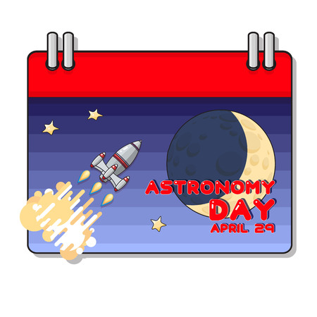 Vector Cartoon  Space rocket and moon. Astronomy greeting card.
