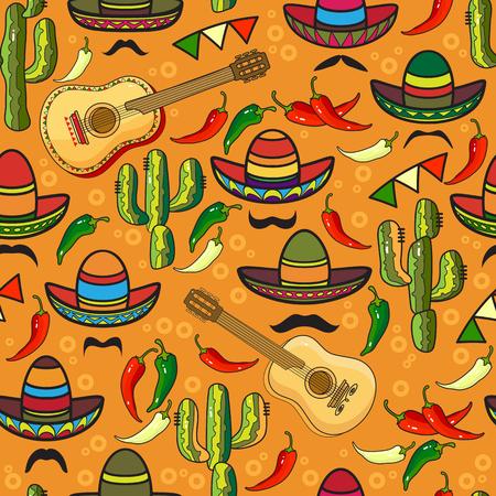 hot surface: Vector seamless pattern. Sombrero, guitar, pepper, cactus.