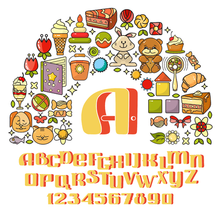 cute bear: Vector childrens icon set - toys, sweets, alphabet. Illustration