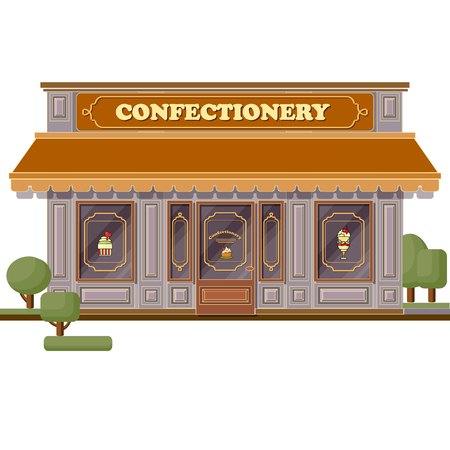 Confectionery shop facade. Stylish sweets boutique. Store design Illustration
