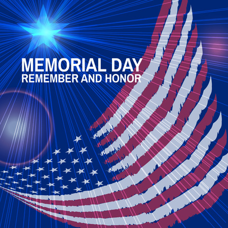 Memorial Day greeting card. Vector. Flag and star, rays, flashes