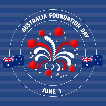 Australia Foundation Day label  on blue.  Vector illustration