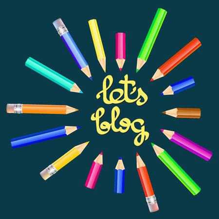 viewer: Lets blog card.  Vector illustration for social media.