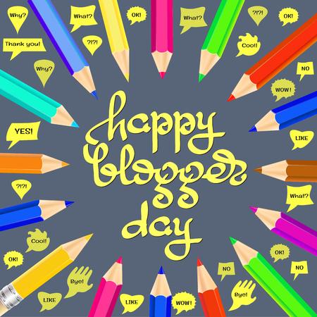 sign post: Happy Blogger day vector illustration. Illustration