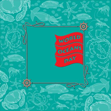 World Ocean Day card. Vector illustration. Illustration