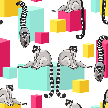 Vector seamless pattern with cute cartoon ring-tailed lemurs and pink yellow blue cubes on white background. Madagascar cats.