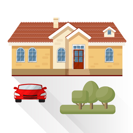 garage on house: Vector illustration of living house, car and trees.
