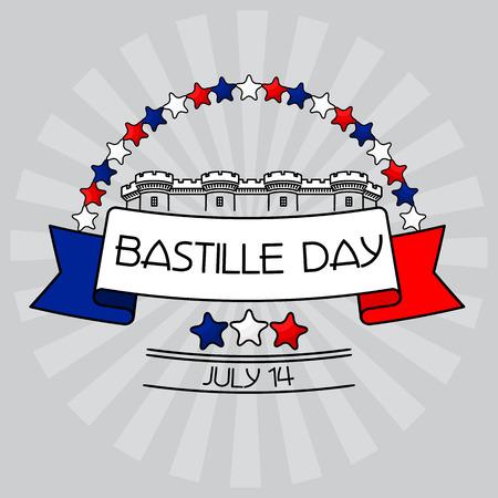 Bastille Day card. Stars, Bastille fortress, Illustration