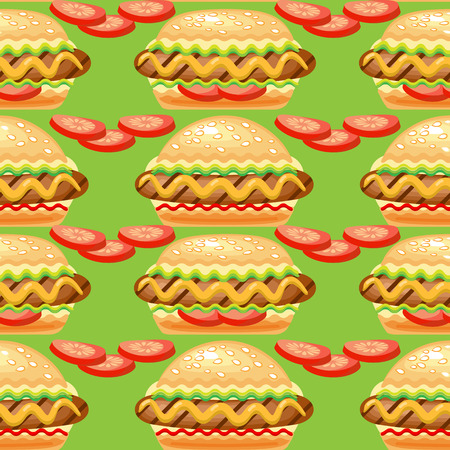 dog: Vector Seamless  pattern with big hot dog.