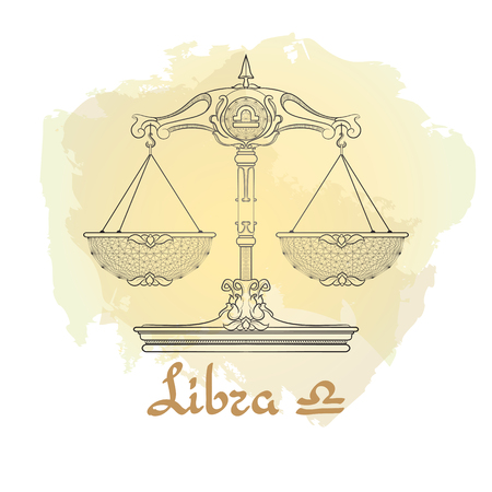 Hand drawn line art of decorative zodiac sign Libra.