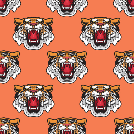 Seamless pattern. Vector illustration of cartoon Tiger head. Stock Illustratie