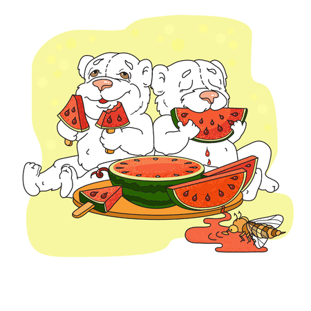 Cute bears eating a slice of watermelon. Vector illustration
