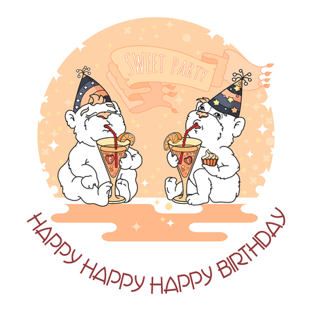 Happy Birthday card with two cute bears in party hats. Illustration