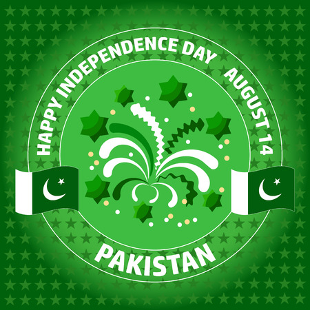 flag of pakistan: Pakistan Independence Day label on green background.