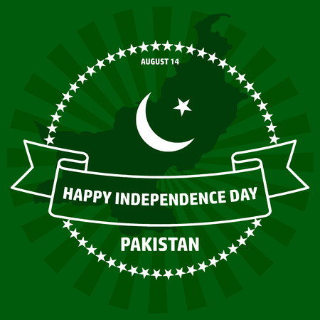 Pakistan Independence Day label on green background.