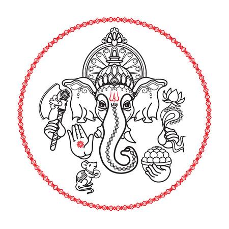 Dios hindú Ganesha. Dibujado a mano estilo tribal. Vector. Foto de archivo - 82397622