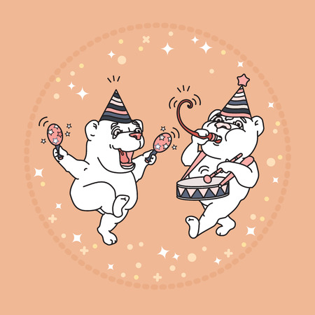 A Vector card with two cute bears in party hats on rose background.