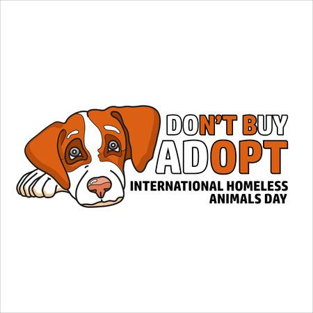 Vector illustration of International homeless animals day. Cute