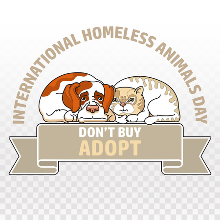 International homeless animals day. Cat and dog. Vector. Stock Photo
