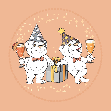 Two cute bears in party hats on rose background. Illustration