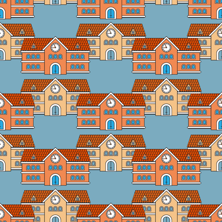 House school seamless pattern. Back to School theme.