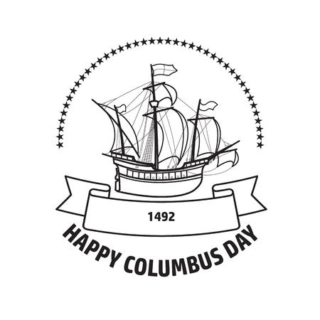 Happy Columbus day greeting card vector illustration.