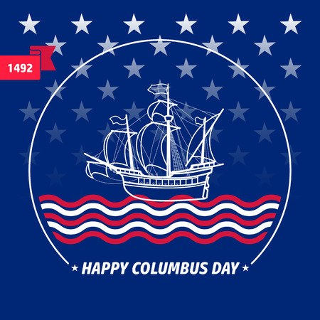 voyager: Happy Columbus day greeting card vector illustration.