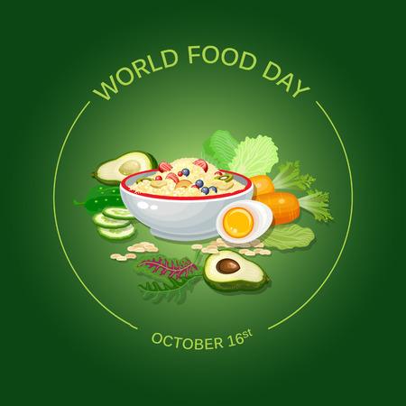世界食品日ベクター イラスト。グリーティング カード、ポスター。