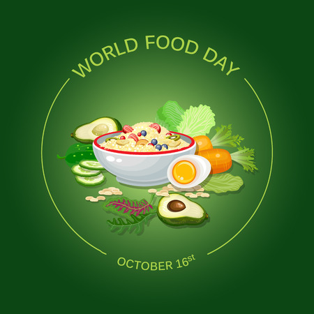 World Food Day Vector Illustration. Greeting card, poster. Ilustracja
