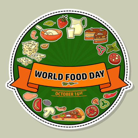 World Food Day. Vector Illustration of stylized meal icon.