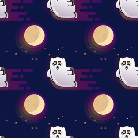 Ghost seamless pattern. Cute cartoon fluing ghost and Moon. Illustration