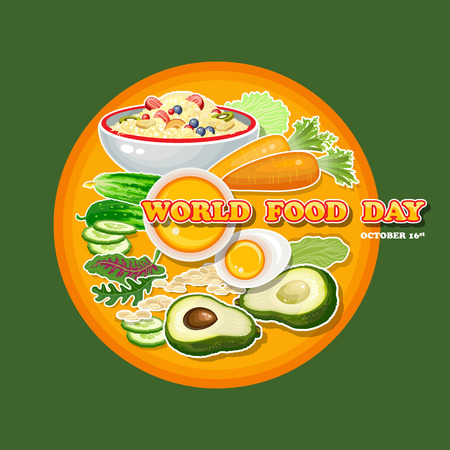 World Food Day. Vector Illustration. Greeting card, poster.