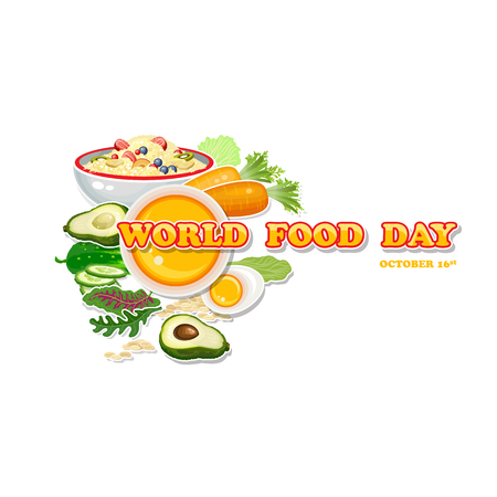 green issue: World Food Day. Vector Illustration. Greeting card, poster.