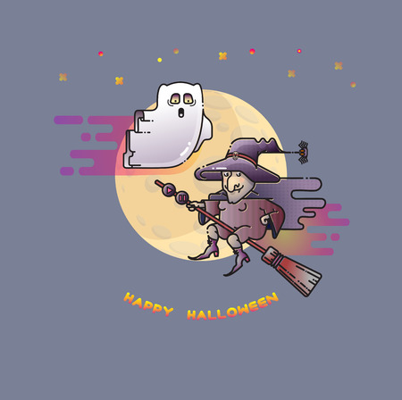 Happy Halloween card with funny ghost, witch and Moon. Illustration