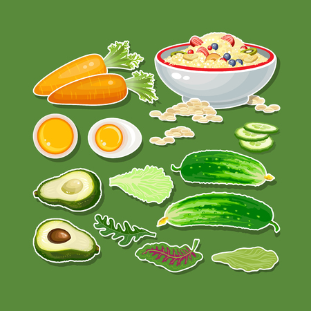 cucumbers: Carrot, cucumber, avocado, egg, porridge and salad. Illustration