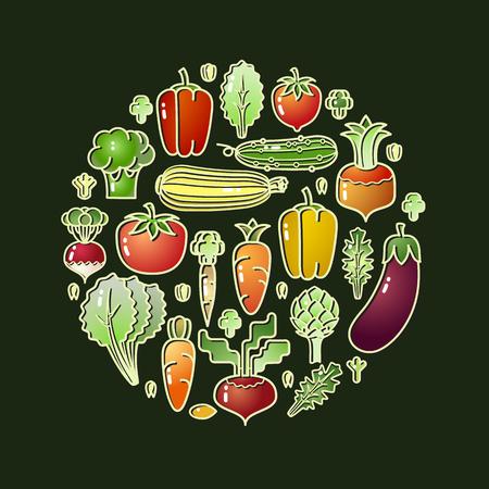 Cartoon style vegetables. Illustration