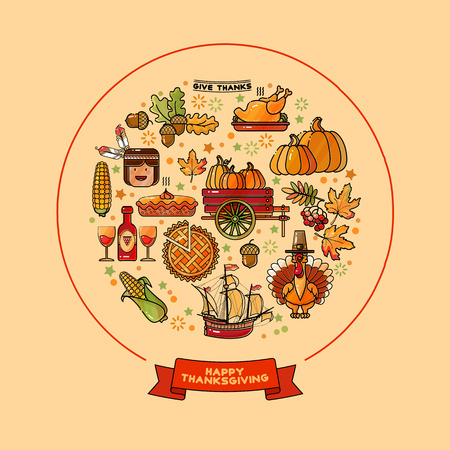 Vector set of  cartoon icons for Thanksgiving day. Illustration