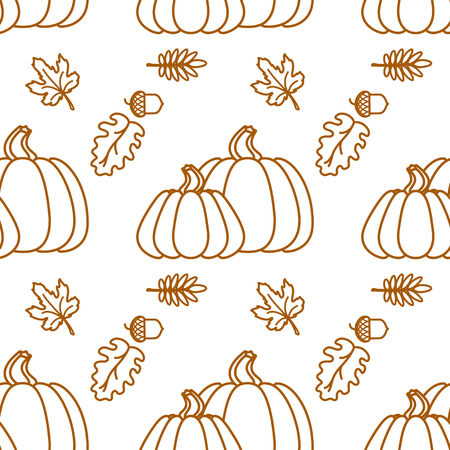 Seamless pattern with outline pumkin and leaf. Vector background