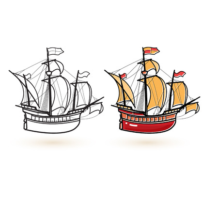 Sailing ship icons. Linear and colorful ship icon. Illustration
